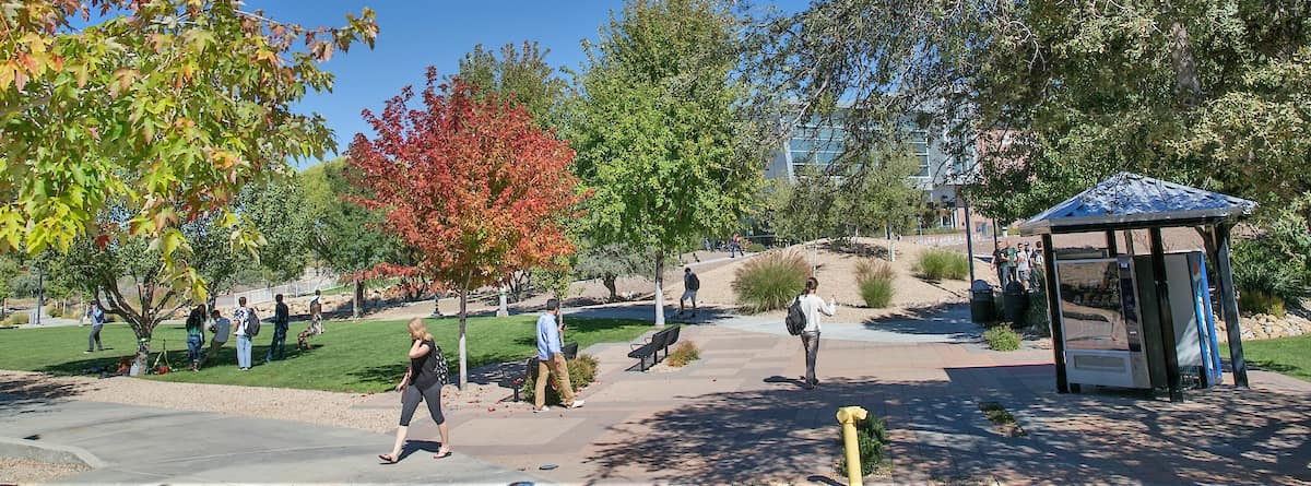 Students traverse our sunny northern Arizona western campus