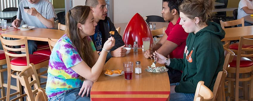 students eating in the dining hall