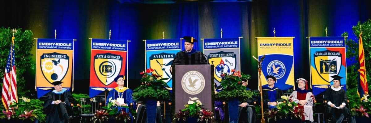 The Commencement Speaker addresses Embry-Riddle Aeronautical University Prescott Campus' graduating class