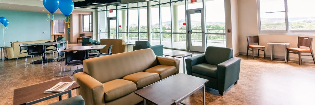 Residence halls include spacious lounges for study sessions and social gatherings