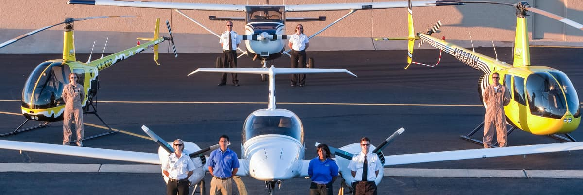 A Diamond DA42 airplane with an Embry-Riddle flight instructor and student in the cockpit in Prescott, Arizona.