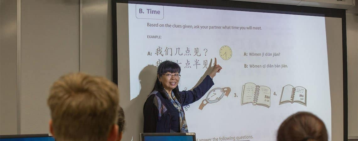 A professor teaches a Chinese course at Embry-Riddle's Prescott Campus.