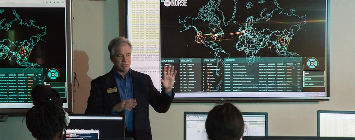 Dr. Haass teaches a course in cybersecurity at the Embry-Riddle Prescott Campus.