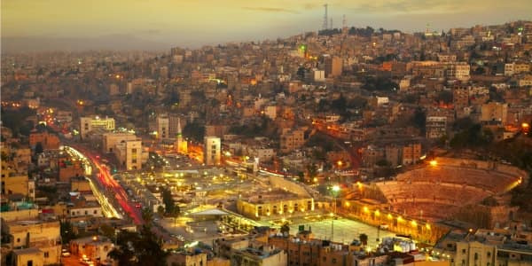 Night city lights of Amman, Jordan's capital