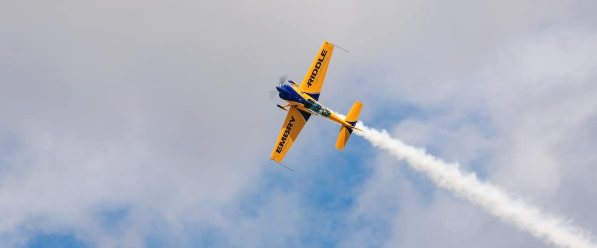 World-class aerobatic and airshow pilot Matt Chapman pilots the Embry-Riddle stunt plane, wowing audiences across the nation with his death-defying maneuvers