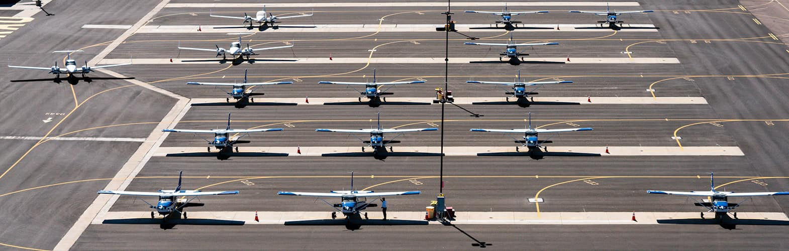 top view of planes at the Embry-Riddle Prescott Campus