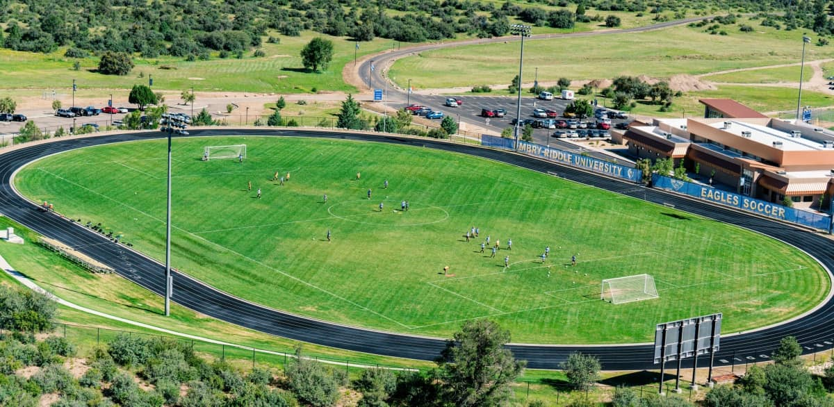 Embry-Riddle's Prescott campus features many spacious outdoor recreation and athletics facilities, including soccer fields, softball fields, track, and others.