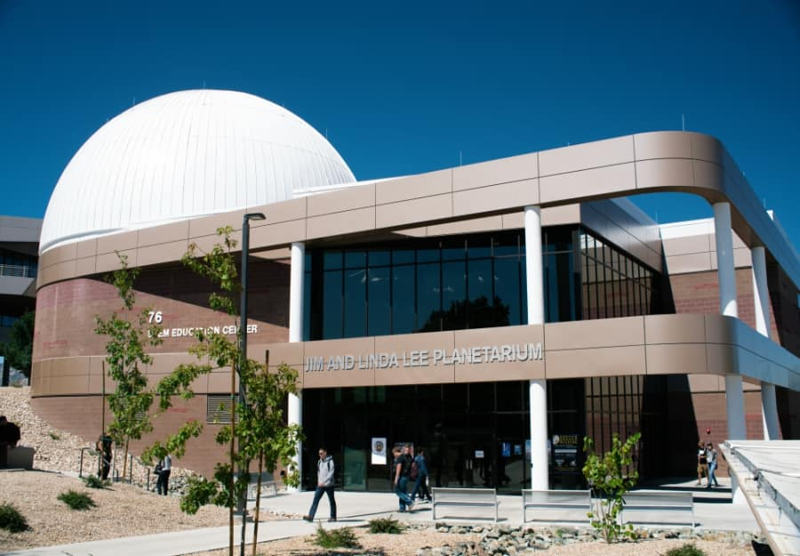 Exterior view of the STEM Education Center and the Jim and Linda Lee Planetarium dome