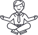 Drawing of a smiling figure in a peaceful, meditative pose
