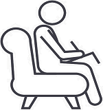 Drawing of a figure sitting in a chair taking notes, like a therapist or counselor