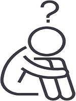 Drawing of a figure sitting on the floor, arms wrapped around knees, with a question mark placed above its head