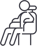 Drawing of a single figure sitting in a chair