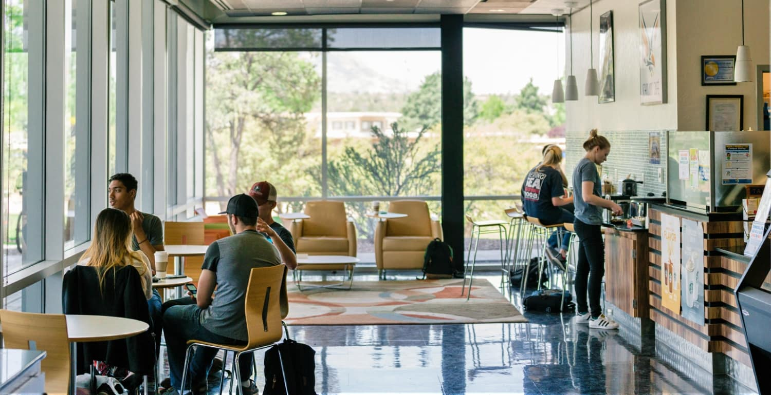 students in the dining areas