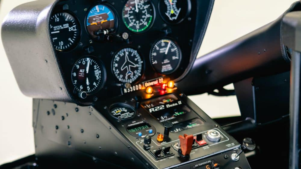 A Robinson 22 Helicopter navigation console