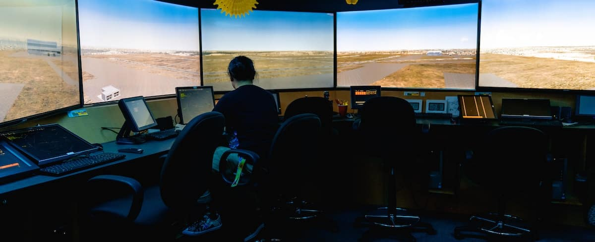 Student operating the ATC Tower Simulator