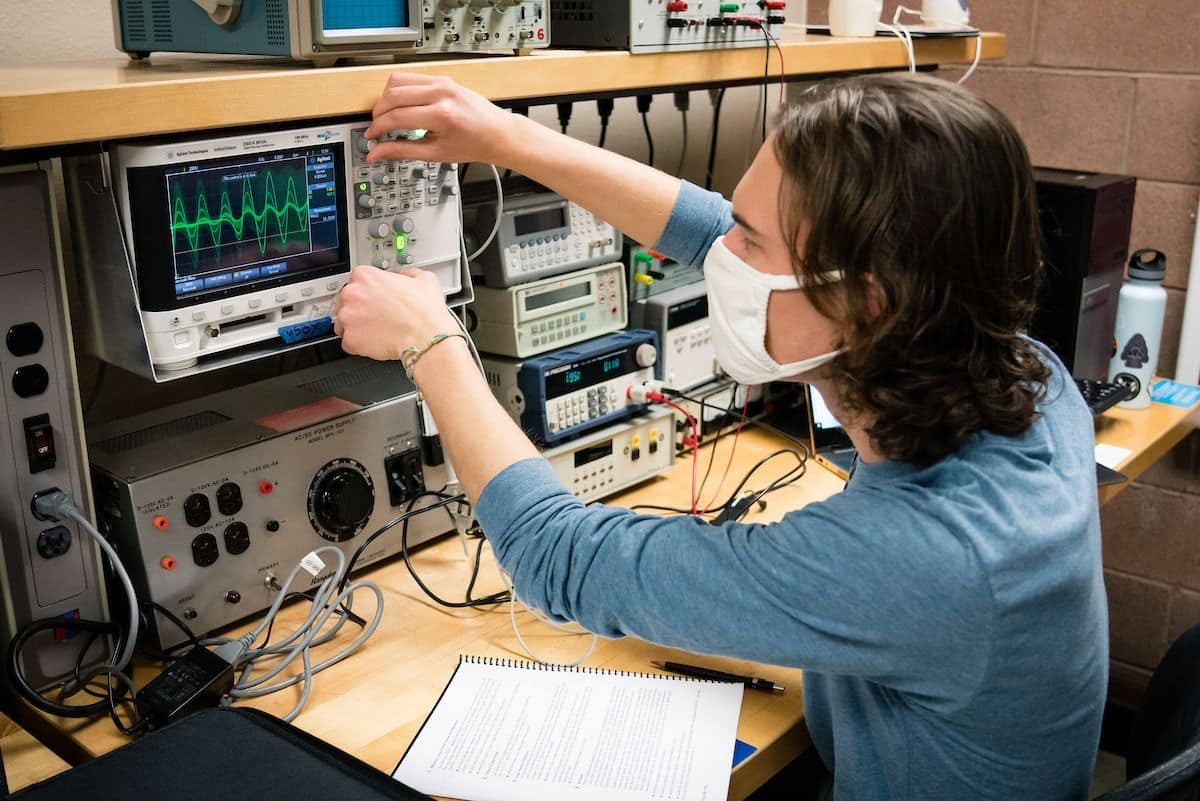 Student experiments with equipment in Embry-Riddle's Power Lab