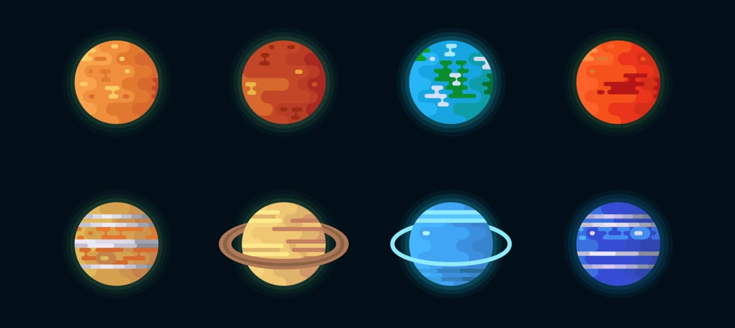 An illustrated graphic showing Mercury, Venus, Earth, Mars, Jupiter, Saturn, Uranus and Neptune