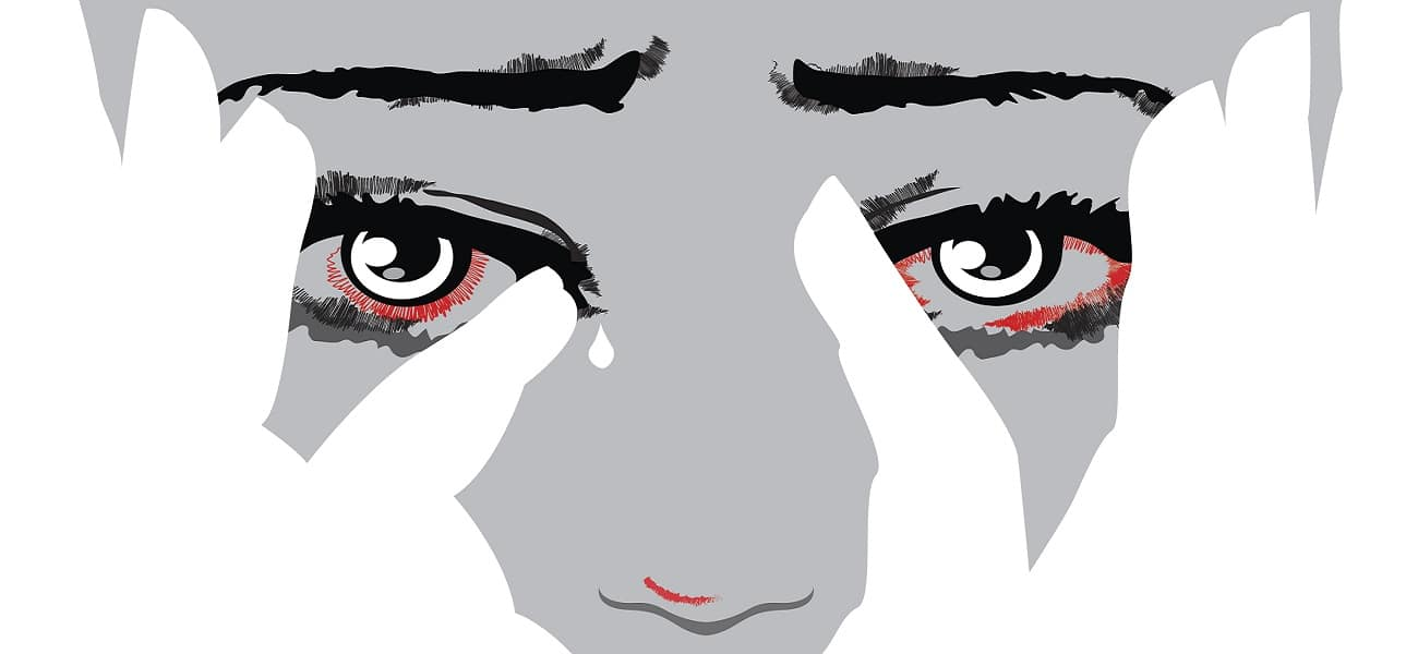 drawing of a woman crying