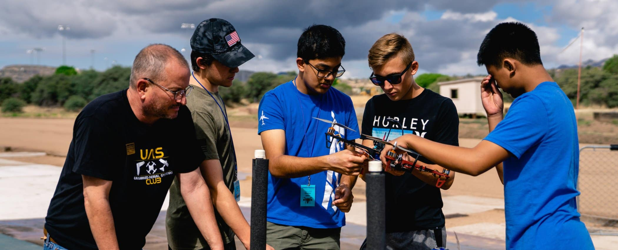 Embry-Riddle students work on a drone